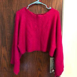 Fuschia crop wide sleeve sweater